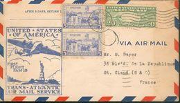 Aérogramme - Par Avion Etats Unis - Trans-Atlantic Air Mail Service First Flight Fam 18  - 1939 - Aviation