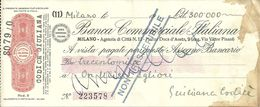 """Assegno """"Banca Commerciale Italiana"""" Milano Agenzia Di Città N. 11 - Assegni & Assegni Di Viaggio"""