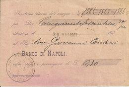 """Scontrino Interno Assegno """"Banco Di Napoli"""" - Assegni & Assegni Di Viaggio"""
