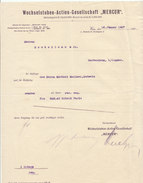 "Autriche, Wien, Wechselstuben-Actien-Gesellschaft ""MERCUR"" 1907 - Austria"