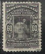CANADA NEWFOUNDLAND 1897 COLUMBUS PORTRAIT CENT. 60 USATO USED OBLITERE' - Newfoundland