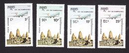 Cambodia, Scott #C59-C62, Mint Hinged, Plane Over Cambodia, Issued 1986 - Cambodge