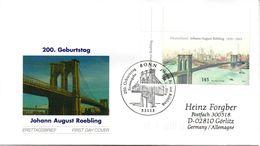 """BRD Schmuck-FDC  """"200.Geburtstag Von Johann Röbling""""200.Geburtstag Vo Röbling"""", Mi. 2544 ESST BONN 8.6.2006 - Brücken"""