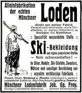 Original-Werbung/ Anzeige 1912 - LODEN / SKI- BEKLEIDUNG / MÜNCHNER LODENFABRIK FREY - MÜNCHEN - Ca. 65 X 75 Mm - Werbung