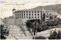 CPA Espagne SAN SEBASTIAN  PLAZA DE TOROS Pub Chocolat LOUIT Timbre ALPHONSE XIII    10476 - Espagne