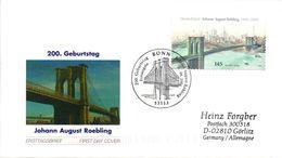 """BRD Schmuck-FDC """"200.Geburtstag Von Johann Röbling""""200.Geburtstag Vo Röbling"""", Selbstklebend Mi. 2546 ESST BONN 8.6.2006 - Brücken"""