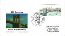 """BRD Schmuck-FDC""""200.Geburtstag Von Johann Röbling""""200.Geburtstag Vo Röbling"""", Selbstklebend Mi.2546 ESST BERLIN 8.6.2006 - Brücken"""