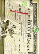 ACTION 100 FRANCS COMPAGNIE AFFRETEURS FRANCAIS-PIERRE FORVEILLE GRAVEUR PARIS RODEZ- LOUSTALET NOTAIRE A BAYONNE 1924 - Actions & Titres