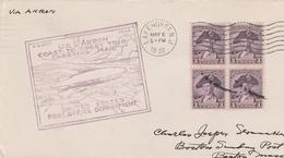 Zeppelin USS Akron 1932 - Lakehurst To Boston & San Diego - 2 Scans - US Navy - 1c. 1918-1940 Covers
