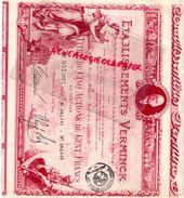 13- MARSEILLE - ETABLISSEMENTS VERMINCK- TITRE DE CINQ ACTIONS DE 100 FRANCS- RARE 1924- MAITRE BARD - Actions & Titres