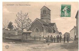 Saussey - La Place Et L'eglise -  CPA° - Autres Communes