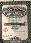 75- PARIS- COMPAGNIE DES PETROLES PROSPERO- ACTION 100 FRANCS- 1925- MAITRE BARILLOT NOTAIRE - PETROLE ESSENCE - Pétrole