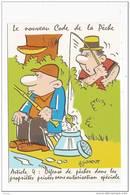 HUMOUR - PECHE  - ILLUSTRATEUR : GONDOT - NOUVEAU CODE DE LA PECHE - ARTICLE 4 - PROPRIETE PRIVEE - Fishing