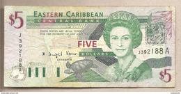 Caraibi Orientali Antigua - Banconota Circolata Da 5 Dollari - 2003 - Caraïbes Orientales