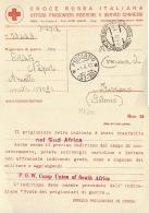 PRIGIONIERI POW CAMP ZONDERWATER SUD AFRICA CROCE ROSSA ITALIANA 1942 FISCIANO - Correo Militar (PM)