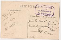 VESOUL Haute Saone, HOPITAL AUXILIAIRE N° 8. LE VAGUEMESTRE. - Marcophilie (Lettres)