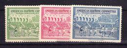 3 Vignetten, American Olympic Committee, Helsinki, St.Moritz, 1940 (41183) - Erinnophilie