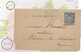 OR =  BINARVILLE, VIENNE LE CHATEAU Marne Sur Carte Lettre SAGE. 1895 - Entiers Postaux