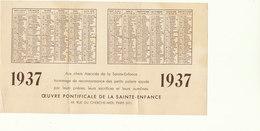 PETIT CALENDRIER 1937  ...INDES / LES SOEURS DE ST JOSEPH D ANNECY   ///////    REF SEPT. 17  REF N° 3913 - Calendriers
