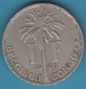 BELGISCH CONGO 1 FRANC 1926 ALBERT KONING DER BELGEN - Congo (Belgian) & Ruanda-Urundi