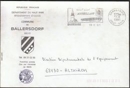 France Dannemarie 1991 / Commune De Ballersdorf / Coat Of Arms / Church - Postmark Collection (Covers)