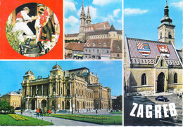 CROATIA - VERY OLD COLOUR PICTURE POST CARD - TURISTKOMERC - TOURISM, VIEWS OF THE CITY ZAGREB - Croatia