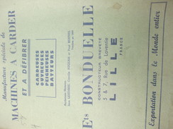 Catalogue / Manufacture De Machines à Carder/ Ets Bonduelle / Constructeur/ Rue Laventie / LILLE/ 1959         CAT214 - Fatture & Documenti Commerciali