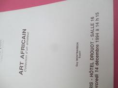 Catalogue De Vente Aux Enchères/Art Africain /Hôtel Drouot// 1994         CAT215 - Fatture & Documenti Commerciali