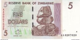 ZIMBABWE 5 DOLLARS 2007 P-66 NEUF  [ZW157a] - Zimbabwe