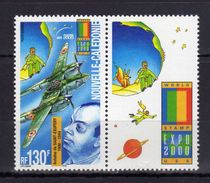"""Nouvelle-Calédonie Antoine De Saint-Exupéry, """"Le Petit Prince"""" Et Avion Lockheed Lightning P-38 Et Vignette Attenante - Avions"""