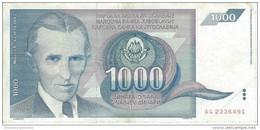 YUGOSLAVIA 1000 DINARA 1991 P-110 CIRC  [YU110circ] - Yugoslavia