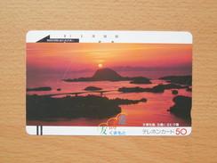 Japon Japan Free Front Bar, Balken Phonecard - 110-4621 / Landscape, Bridge, Sonnenuntergang, Coucher De Soleil, Sunset - Japan
