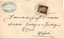 SOCIETA' TOSCANA Di SCIENZE NATURALI - PISA Per NAPOLI - 13.11.1935 Piego CON CONTENUTO - STAMPE 10c. Imperiale 2/79 - 1900-44 Vittorio Emanuele III