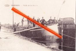 """BLEHARIES - Visite De La Douane -Carte Très Animée Avec Douaniers Sur La Péniche """"PLANTIN-Anvers"""" E.Van Den Poel, Anvers - Brunehaut"""