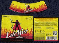 Belgique Lot 3 Étiquettes Bière Beer Labels Lucifer Belgian Ale - Bier