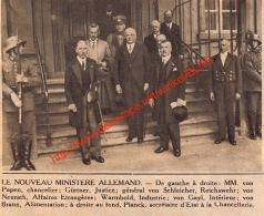 Nouveau Ministère Allemand - Von Papen Gürtner  - 1932- Illustration 11x9cm - Documents Historiques