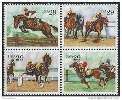 US  1993  Sc#2759a  29c Horses Block Of 4 MNH**  Face $1.16 - Etats-Unis