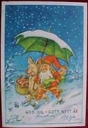 Cpa NAIN BARBU Et COCHON Humanisé  Parapluie Neige ,signée CURT NYSTROM , GNOME  Santa & DRESSED PIG Fairies A/s - Animaux Habillés