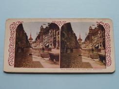 Street Fountain And Old Clock, BERNE Switzerland - Stereo Photo (?) ( Voir Photo Pour Detail ) ! - Photos Stéréoscopiques