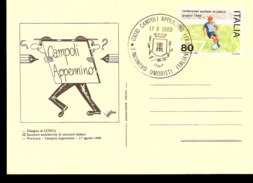CARTOLINA UMORISTICA CON AFFRANCATURA CAMPIONATI EUROPEI DI CALCIO 1980 ED ANNULLO UMORISTI ITALIANI - Calcio