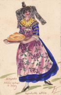 Carte Illustrée Par L. T  - Home Made - Peinture Fait Main - Bressanne, Ancien Costume De Bourg (01) Porte Poulet Cuit - Illustrateurs & Photographes