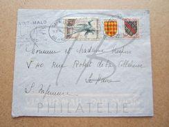 "VEND TIMBRES DE FRANCE N° 957 + 1002 + 1003 , CACHETS "" ST-MALO "" , SUR FACADE !!! - Briefe U. Dokumente"