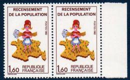 "FR 1982 Timbre Recensement ""manque 7 Sur La Corse"" N° YT 2202 ** MNH - Errors & Oddities"
