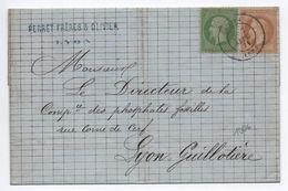 1871 - LETTRE LOCALE De LYON Avec BEL AFFRANCHISSEMENT DE SEPTEMBRE 1871 N° 20 & 28 - Postmark Collection (Covers)