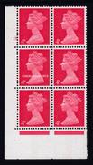 GREAT BRITAIN 1969 MACHIN 4d. RED CENTRE BAND PHOS.  S.G. 733  CYLINDER 15 NO DOT BLOCK OF 6  U.M. / YT 476 N.S.C. - Machins