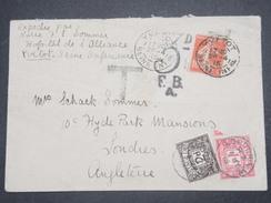 GRANDE BRETAGNE - Taxes De Londres Sur Enveloppe De Yvetot En 1915 ( Hôpital Auxilliaire Militaire) - L 9770 - Postage Due