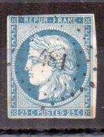 N° 4 : 25 Centimes Cérès Bleu Oblitération P.C. 481 Bourges. (42102) - 1849-1850 Cérès