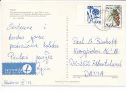 Multiple Stamp Postcard - 18 December 1992 Chełmża To Denmark - 1944-.... Republic