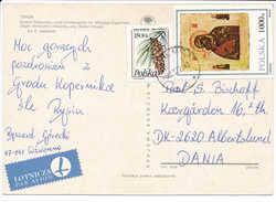 Multiple Stamp Postcard - 21 December 1992 Chełmża To Denmark - 1944-.... Republic