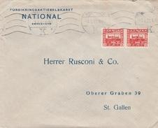 Dänemark-Schweiz-Couvert,Marken Mit Firmenlochung-Pervin -FN - 1913-47 (Christian X)